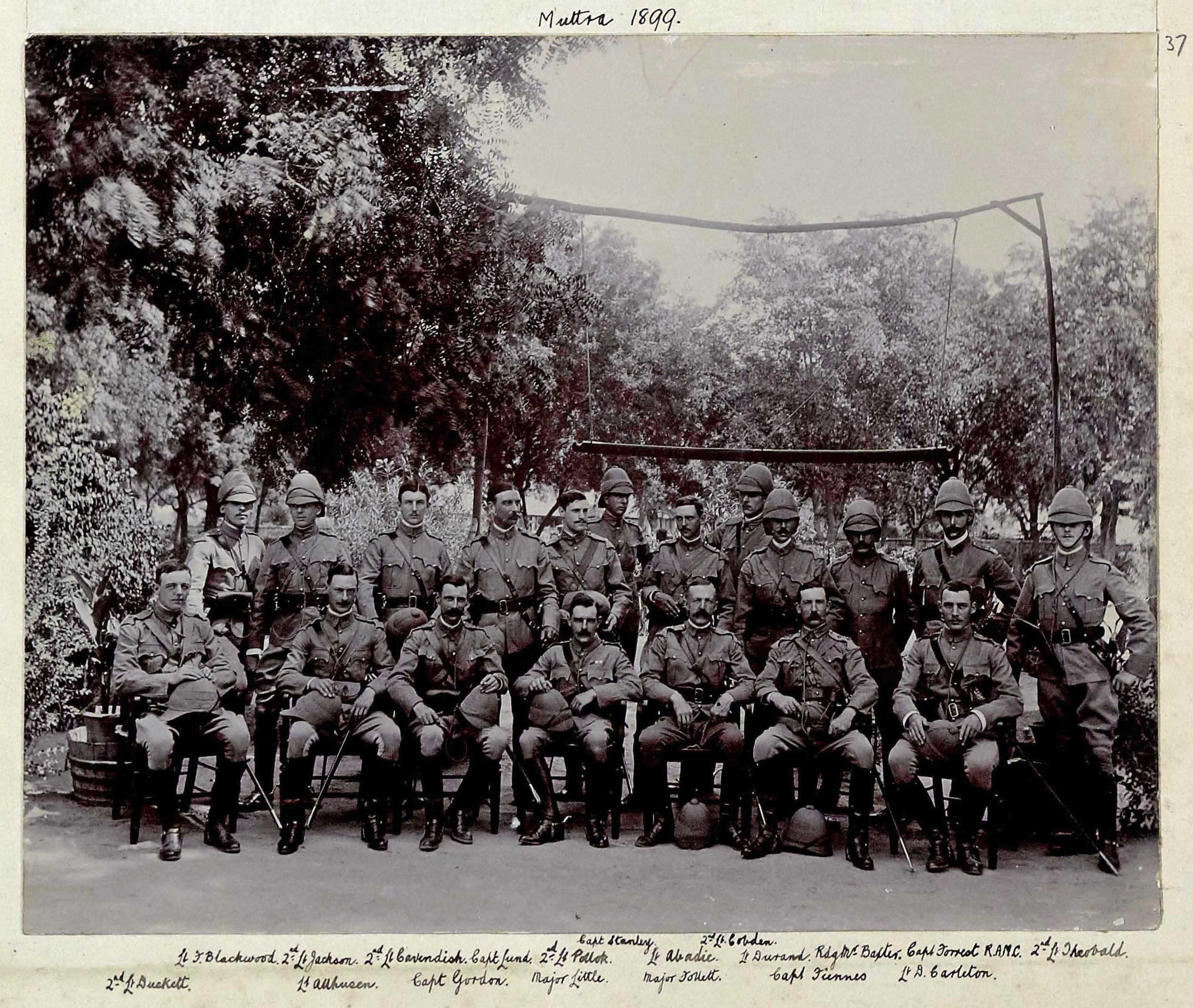 Officers of the 9th Lancers at Muttra in India in 1899 shortly before deploying to South Africa for the Boer War, including Captain Thomas Edward Gordon (front row, third left) (copyright 9th/12th Lancers Regimental Museum, Accession No 2090-16-37).