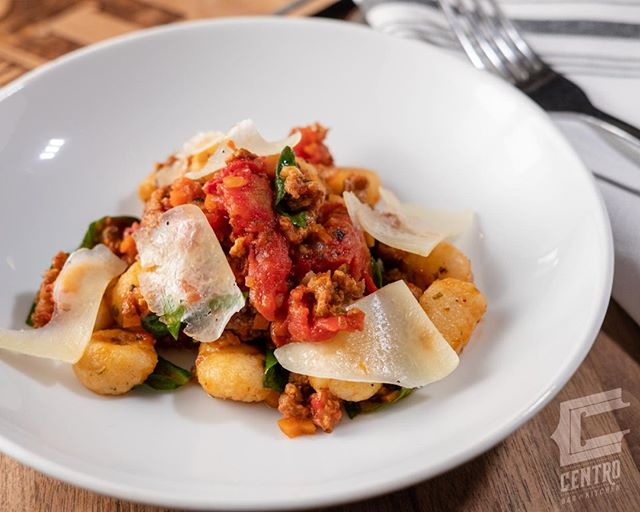 Sometimes you want a little comfort food. Try our tapa-style gnocchi plate with chorizo, spinach, stewed tomatoes, and parmesan.