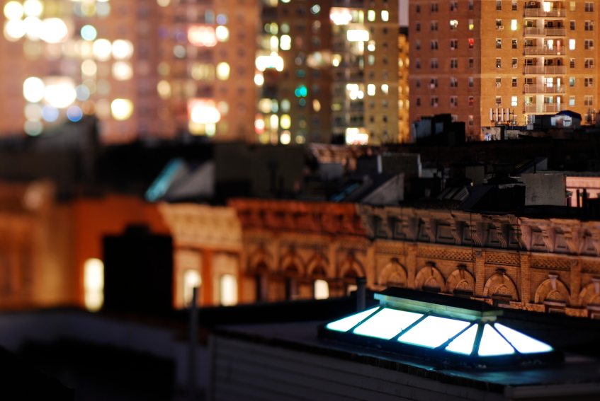 Greenwich Village rooftops at night