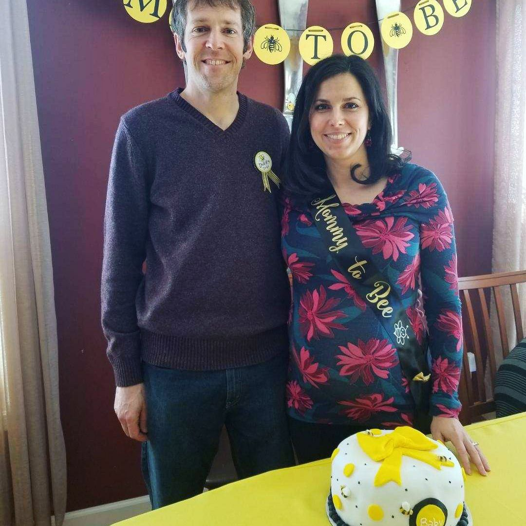 """The """"parents to bee"""" at our baby shower."""