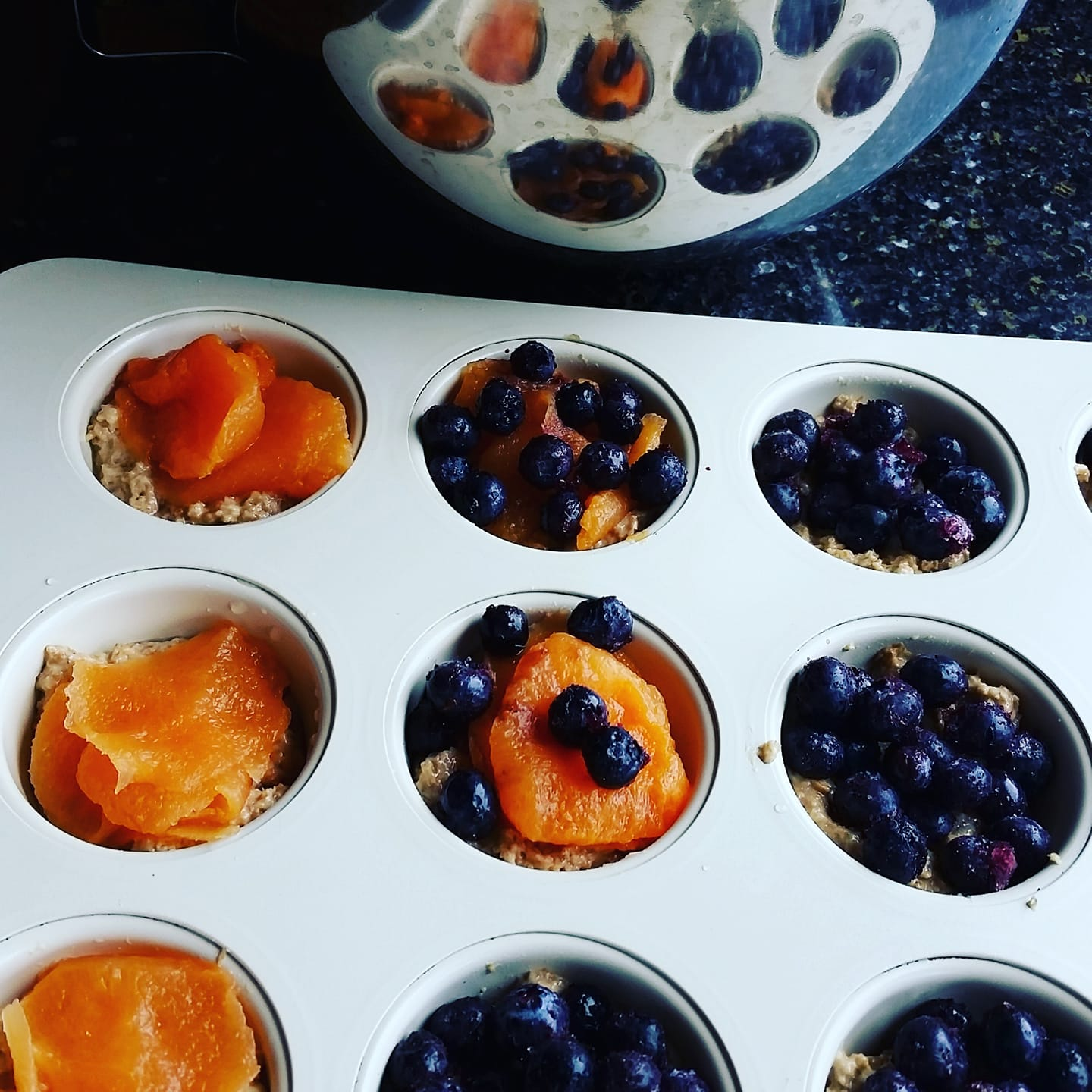 SK's bran muffins - here with blueberries and cantaloupe