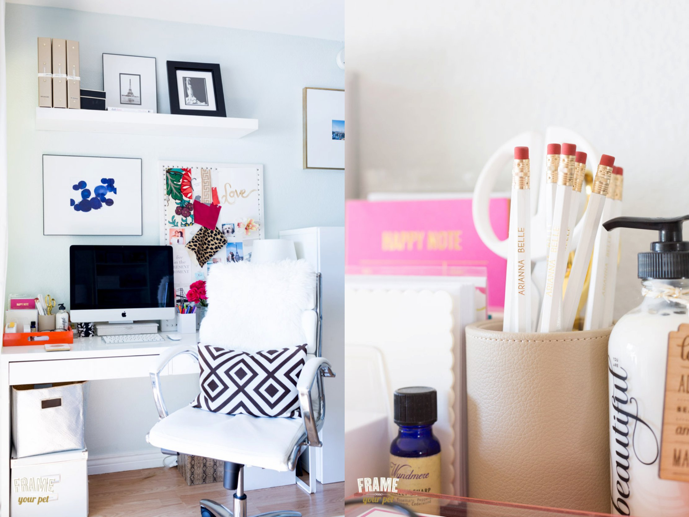 Left: a corner turned into a home office. Right: details of things you can find in her desktop.