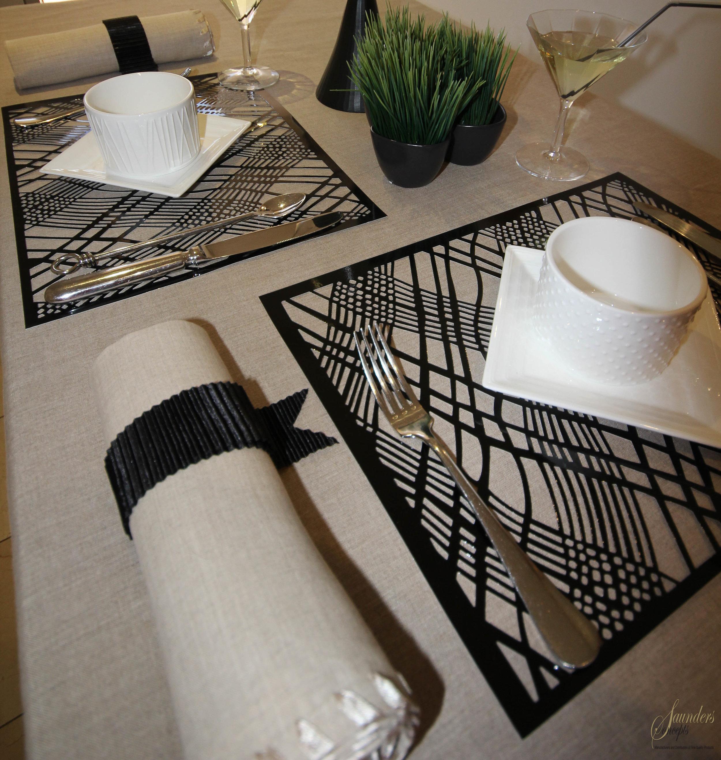 Weave Black Foil Placemats