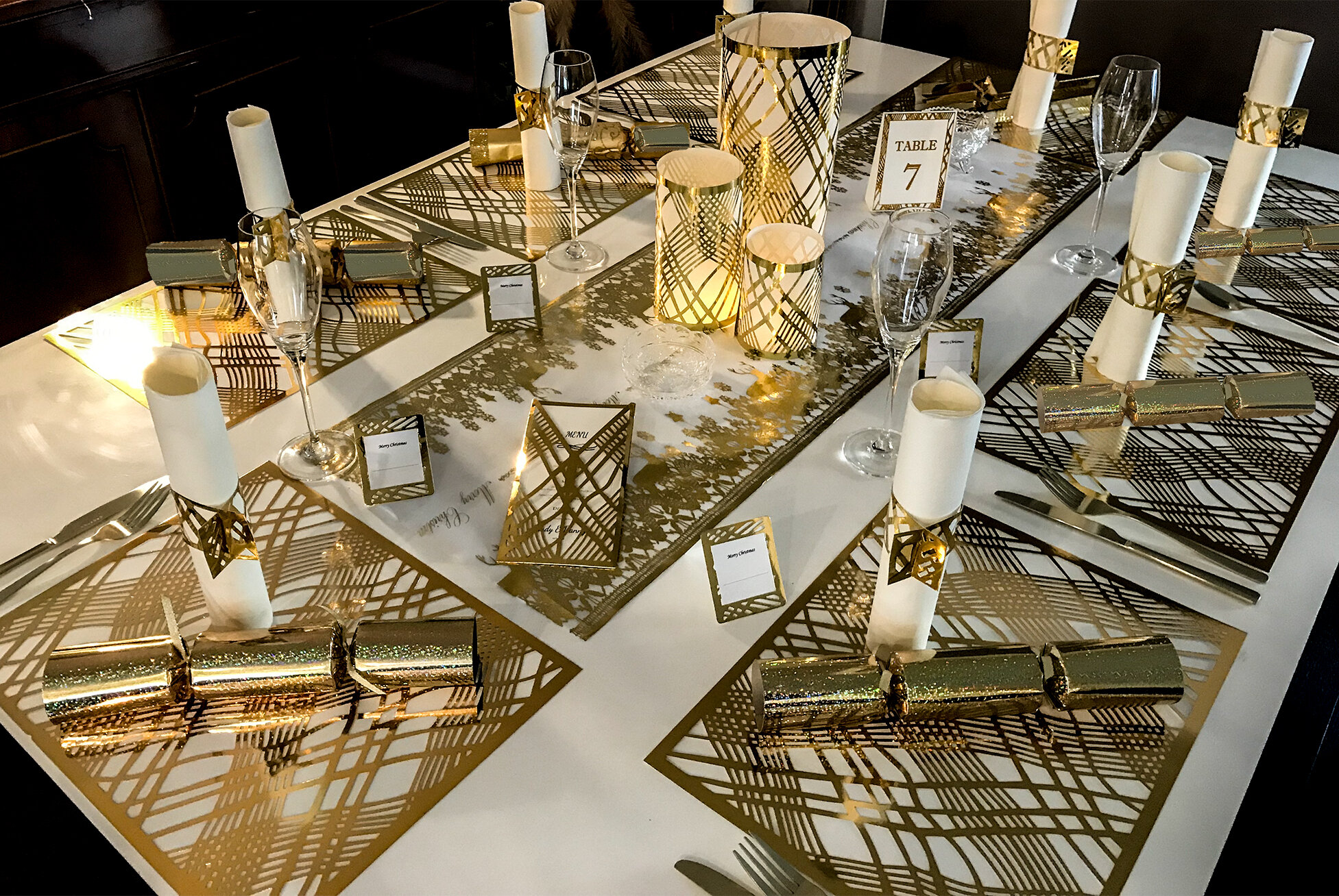 Gold Reindeer Table Setting