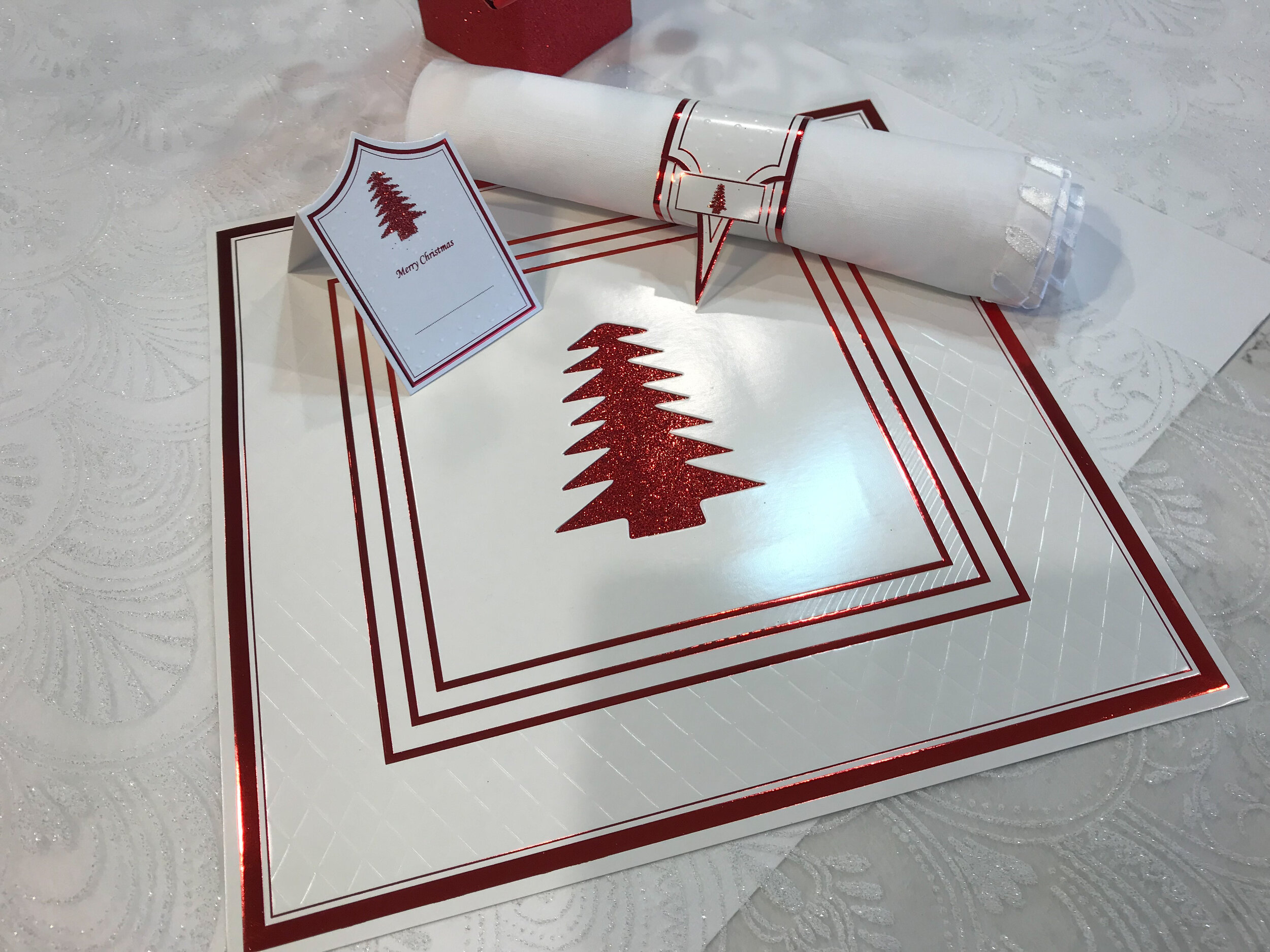 Red Anni Square Placemats