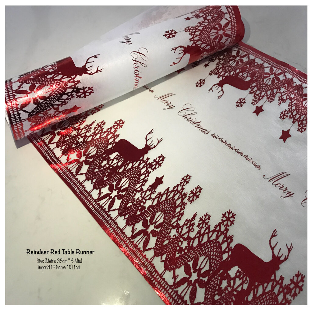 Red Reindeer Table Runner