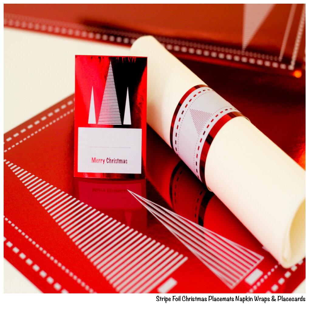 Red Stripe Foil Placemats