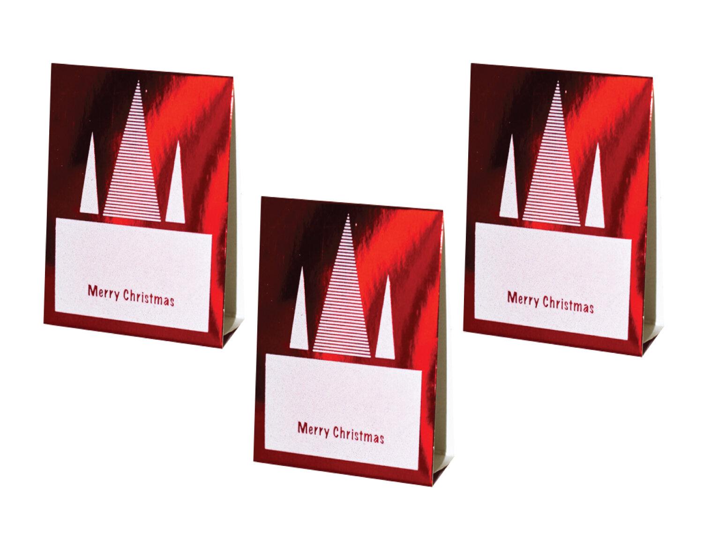 Red Christmas Place Cards (Foil Stripe Design)