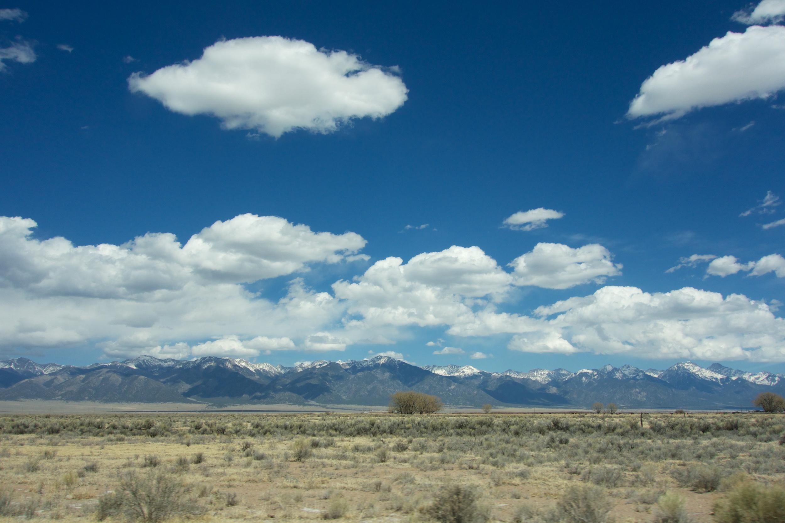 The Sangre de Cristos mountains, southbound US 285, 4 May