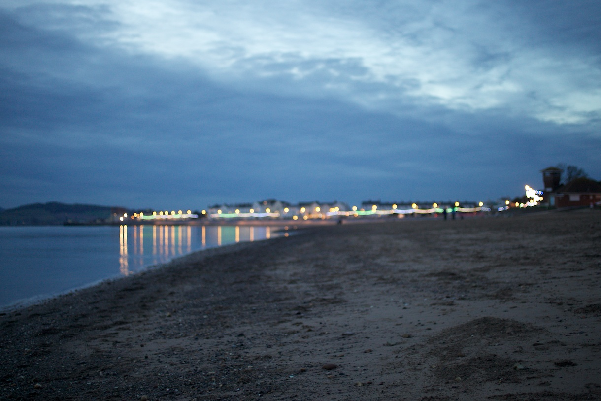 Exmouth's lights at dusk.