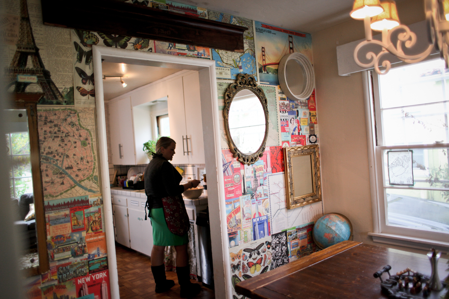 Jessica deco-paged this wall and did many other crafty things to decorate their home. It pretty much blows Pinterest away.