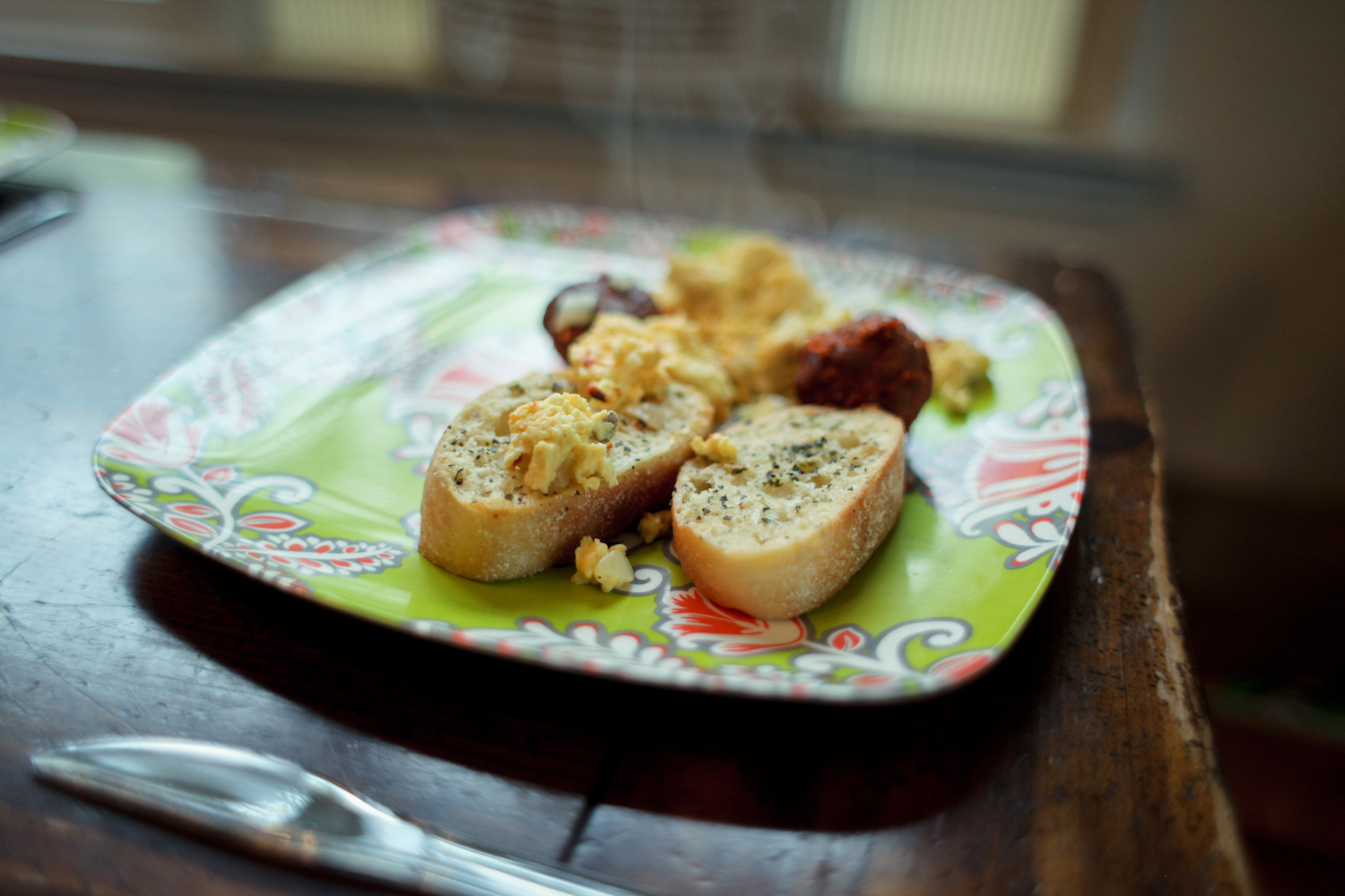 The eggs were prepared by Jeffrey, 17, with fresh garlic, onions, cheese, and cream. These meatballs were provided by the neighbors. Mom made the garlic bread. Jeffrey is quite gifted in the culinary arts. He and his brother Joseph run a business called   The Cookie Boys .