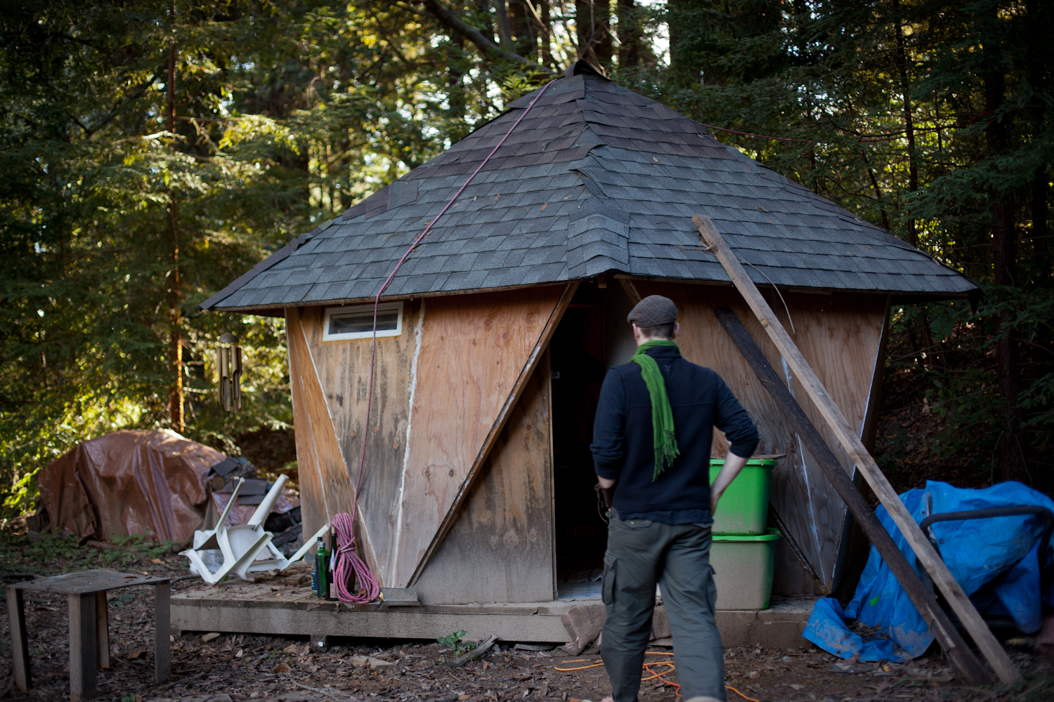 Every parent needs their own space. This is Colin's star jointed annex that he built himself