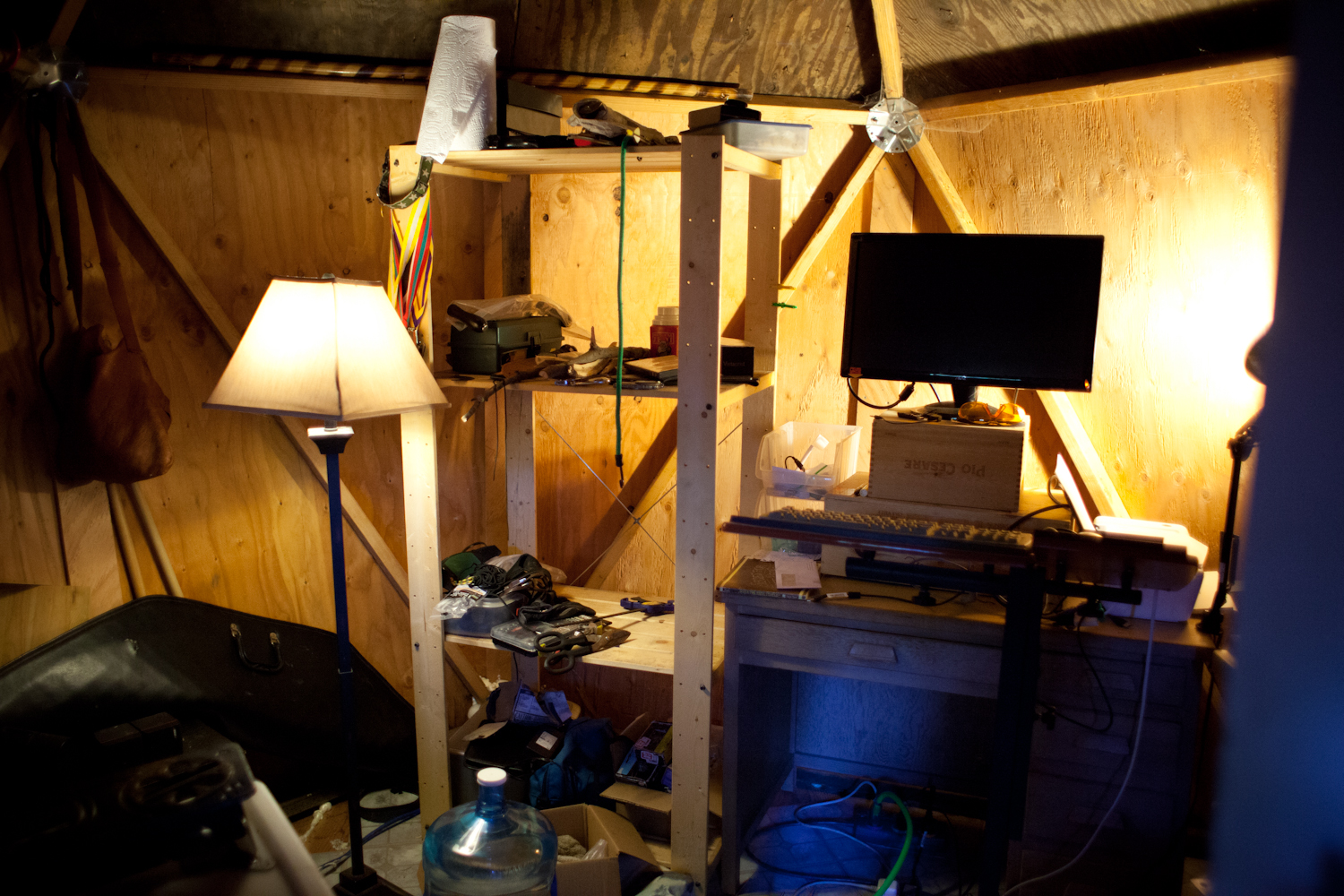 Colin's standing workstation helps improve posture and focus when working on the computer.