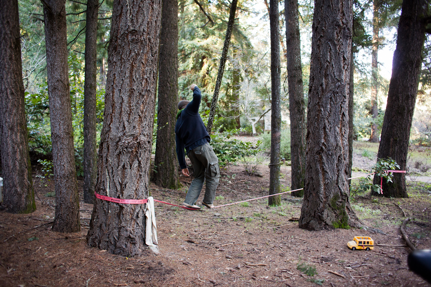 Jaclyn wanted some photographs of Colin on his slack line. Have you ever tried walking on one of this things? It's hard!