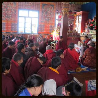 Lama Rigdzin P'huntsok giving transmissions at Deden Tashi Choeling Temple