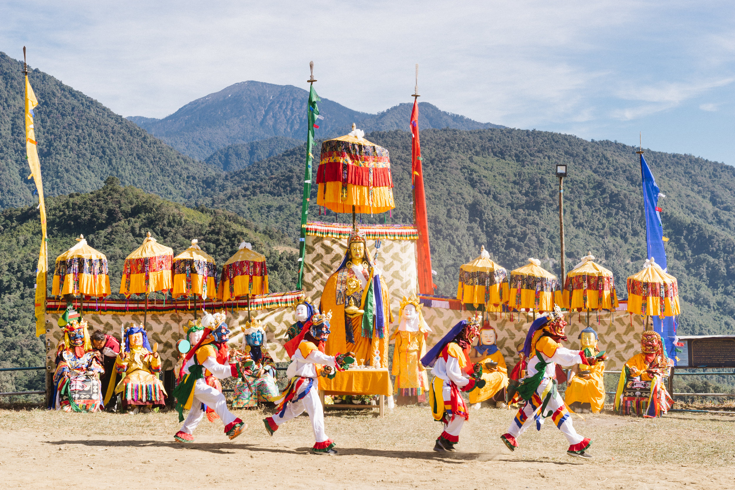 Every year on the 10th day of 11th month of the Tibetan Calendar, sacred dances of the eight manifestations of Guru Rinpoche from the Rigdzin Dupa Sadhana practice are performed at Deden Tashi Choeling.