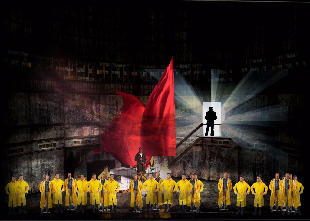 Early look at  The Flying Dutchman , designed by Jacob Climer with projections by S. Katy Tucker