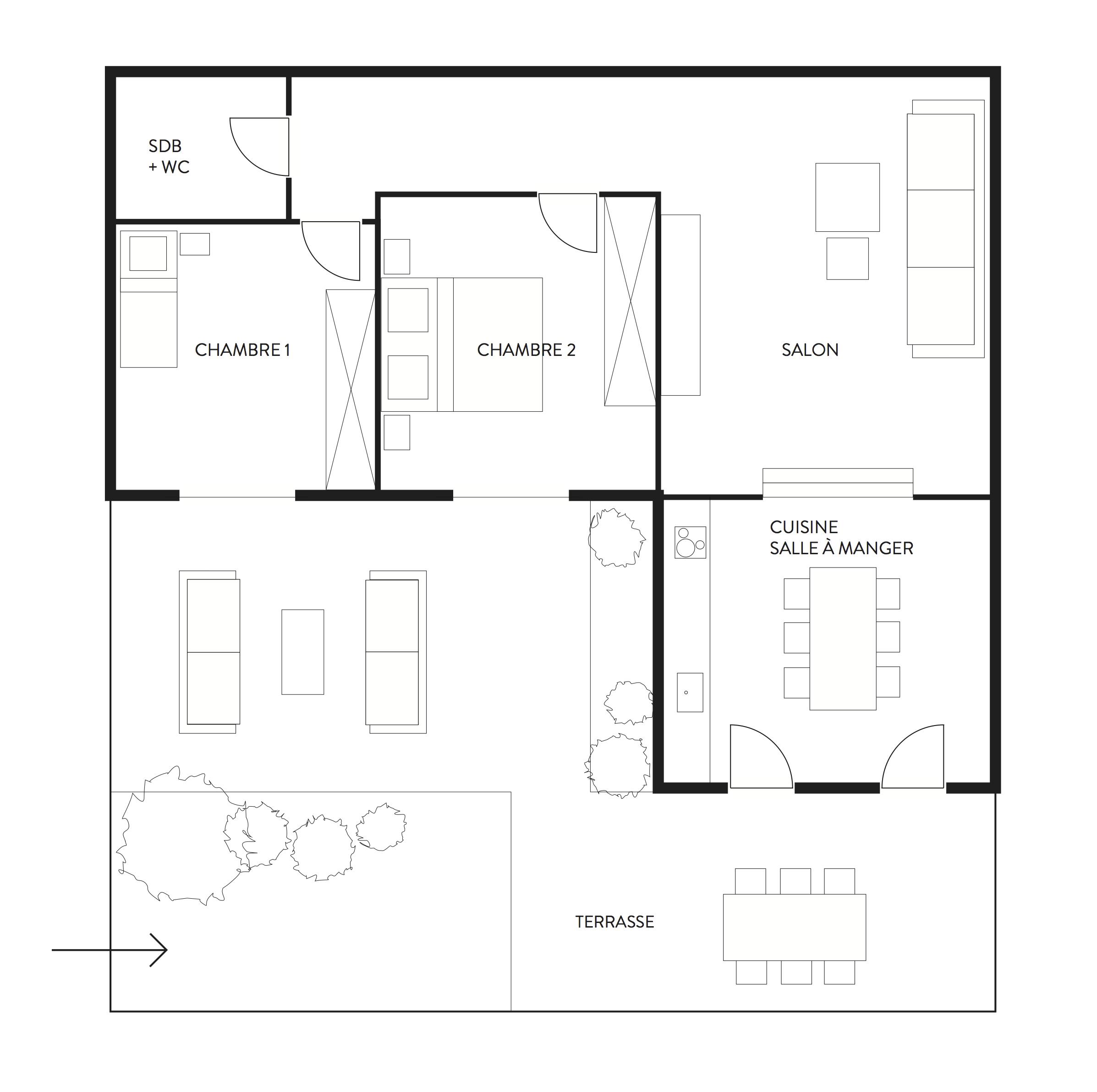Plan représentant la répartition des espaces et la disposition du mobilier. Ce plan n'est en aucun cas un plan technique à l'échelle.