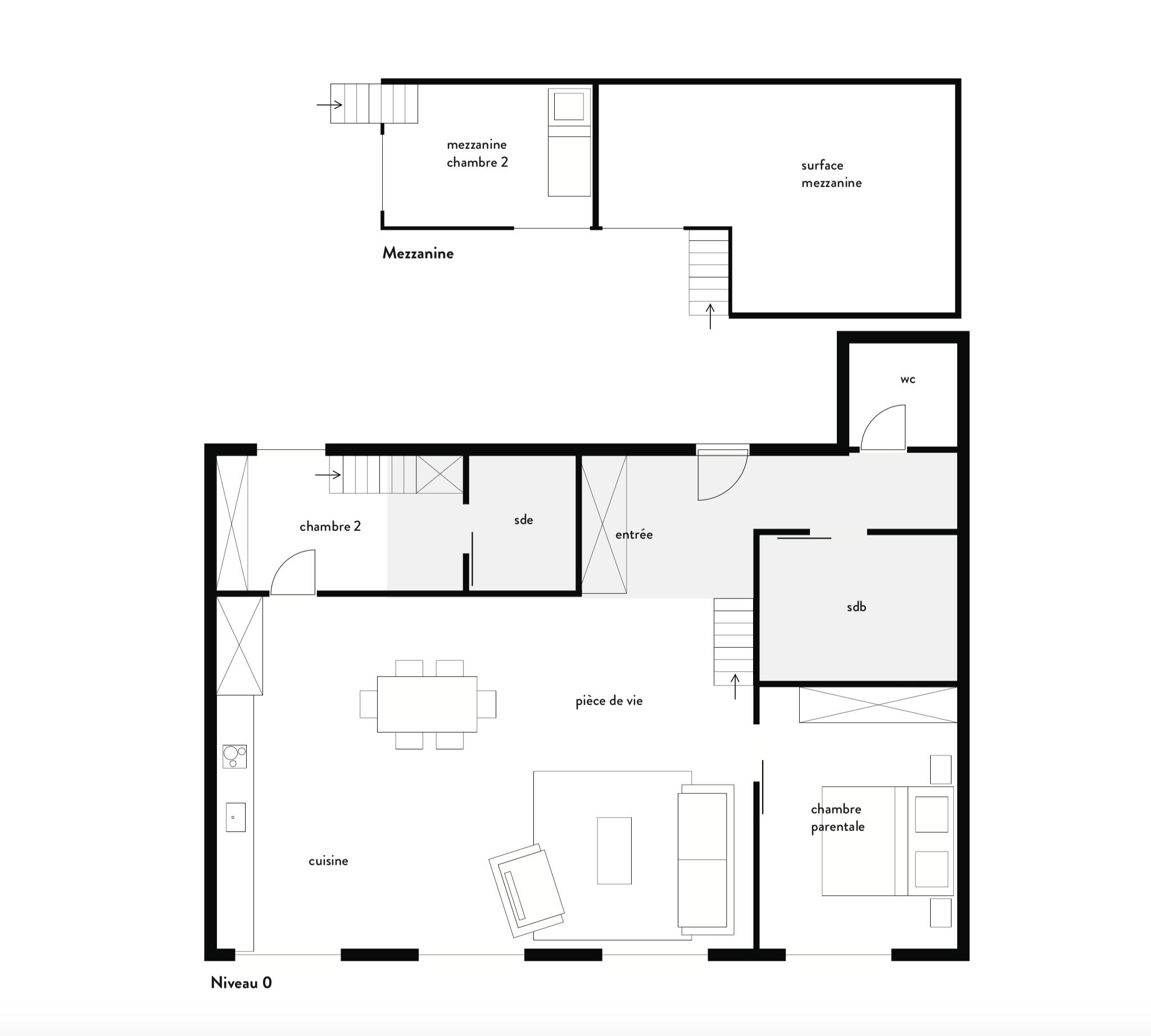Plan de projection en T3 avec mezzanines