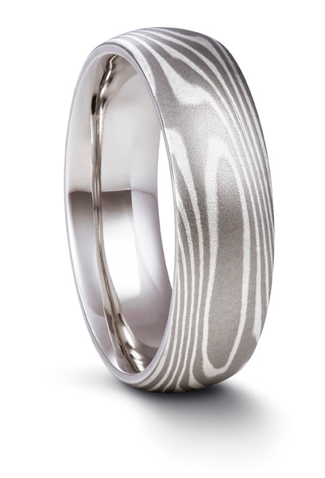 White Gold and Si  lver Mokume Gane Ring
