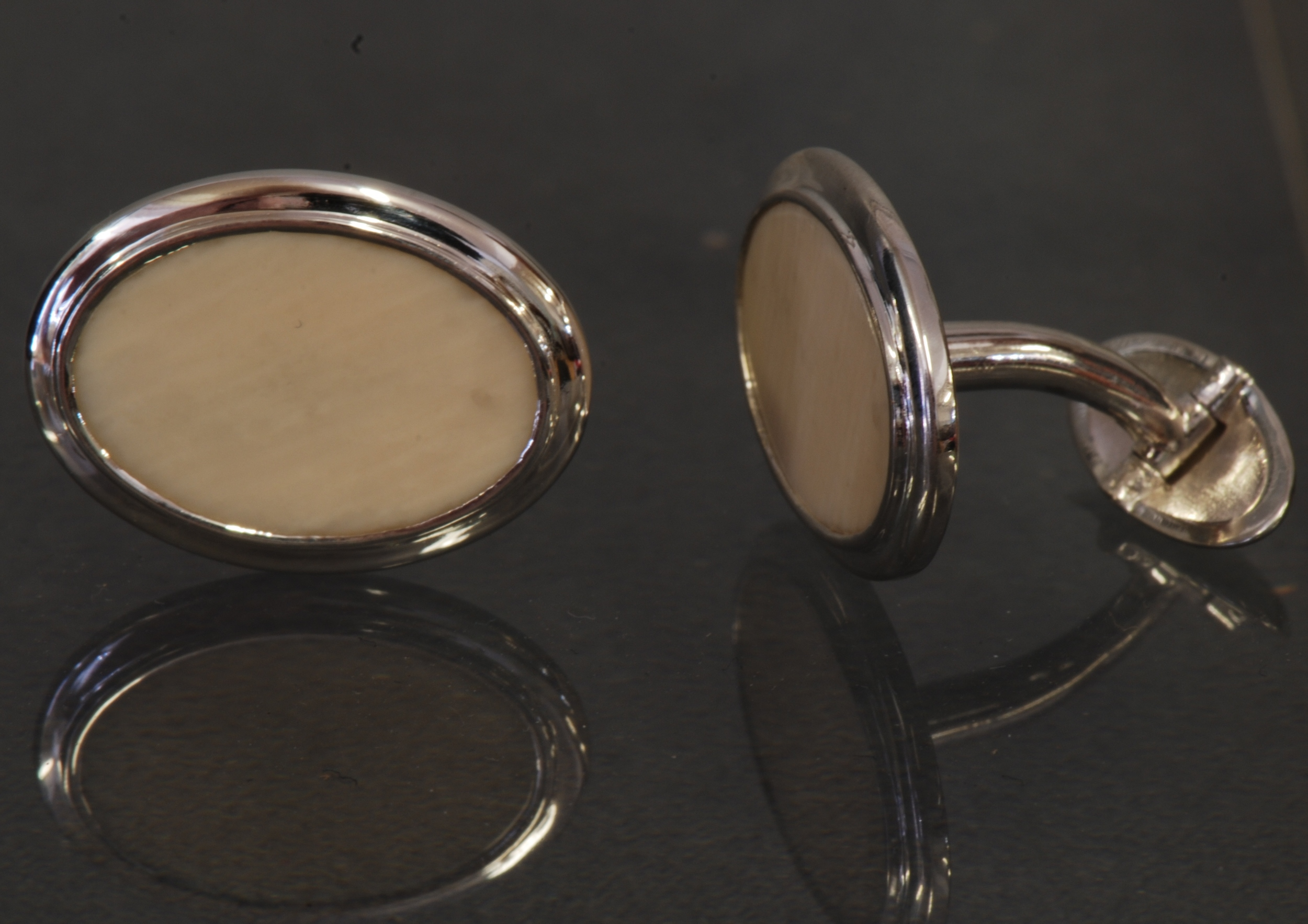 mammoth ivory sterling silver cufflinks