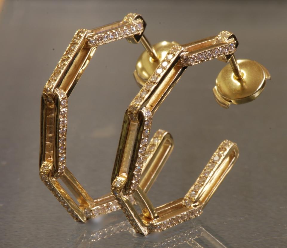 18K YELLOW GOLD RETRO CHAIN KINK DIAMOND HOOP