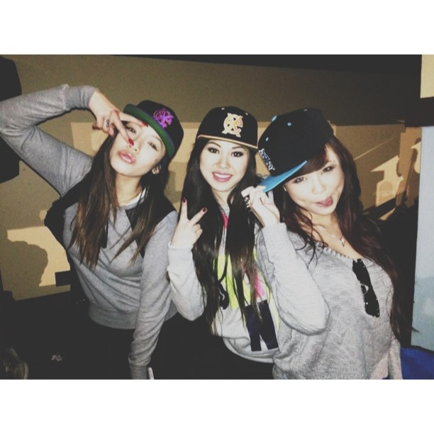 With my girls, Rosemary and Joanna at the Perfectly Kinki BBQ! Reppin  The Exqused  snapbacks!