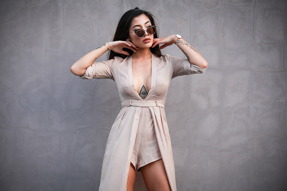 XANDU PLAYSUIT IN MOCCHA BY  OUT WITH AUDREY