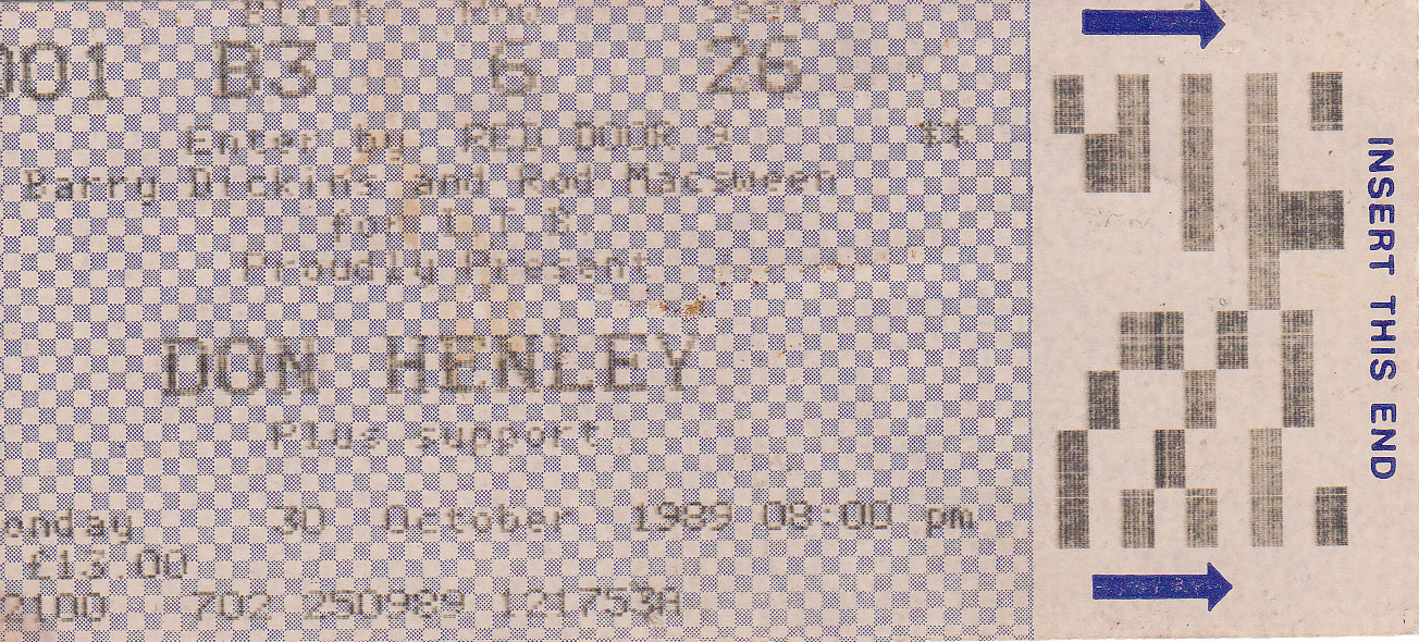 """Our ticket to our first Don Henley concert. We really want Don to sign this some day, but it just hasn't worked out. BTW..the support was """"The River City People"""""""