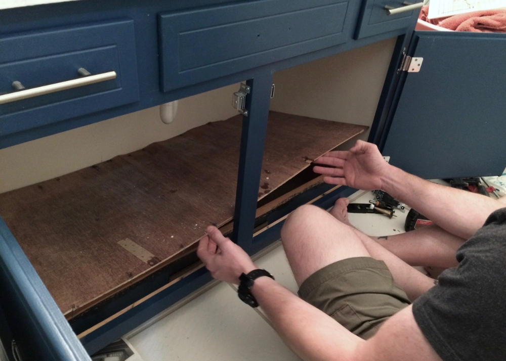 Removing the floor of the cabinet