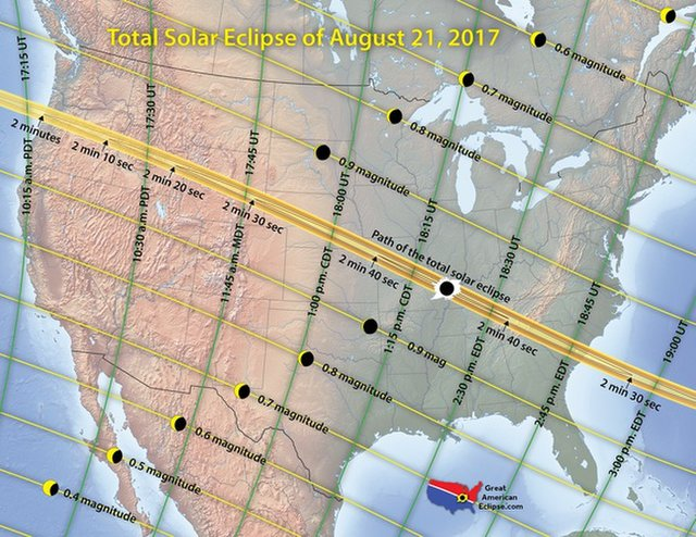 The total solar eclipse of 2017's path of totality, stretching from Oregon to South Carolina.  Credit: Michael Zeiler, GreatAmericanEclipse.com