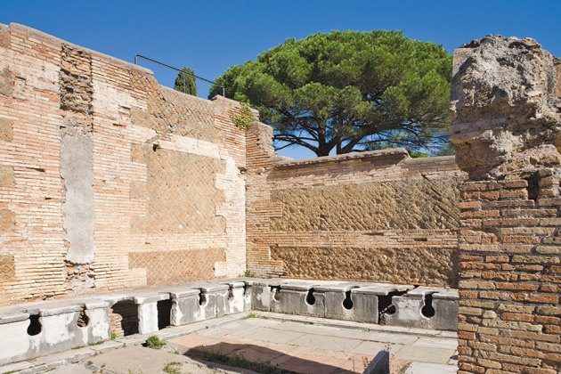 Public Roman toilets were actually considered dangerous places, and shrines to the goddess Fortuna were often near toilets so that bathroom goers would be protected while doing their business.