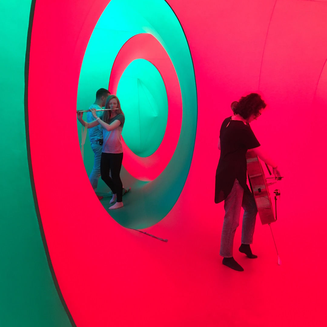 Photo from rehearsal of Sound and Seek at the Colourscape on 15 September 2017.