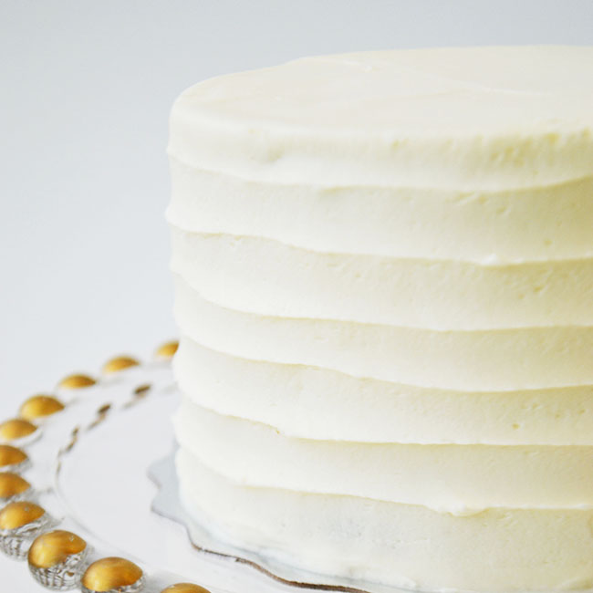 Chocolate Vanilla Cake  - Moist chocolate cake layered with vanilla buttercream icing.