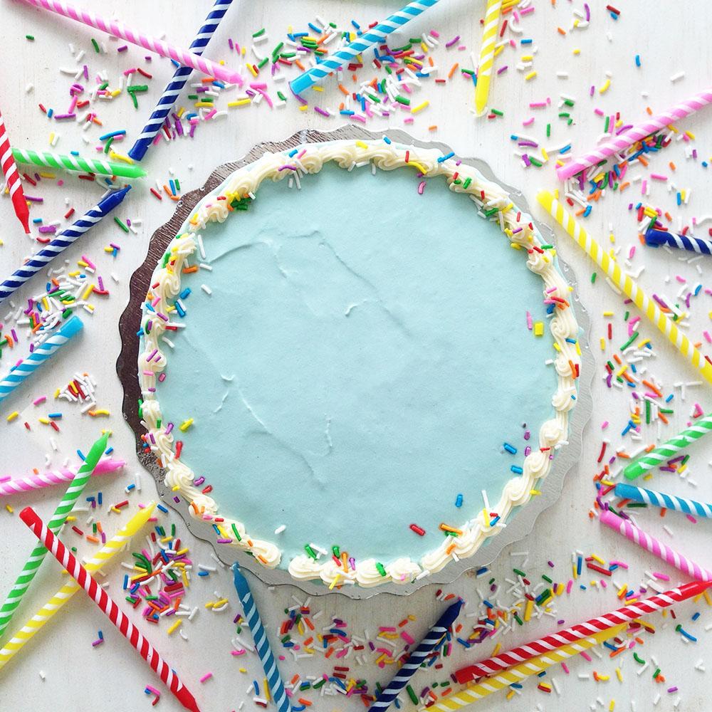 Birthday Cake  Kawartha Dairy Ice Cream, Vanilla Cake,Vanilla Buttercream and Vermicelli Sprinkles.