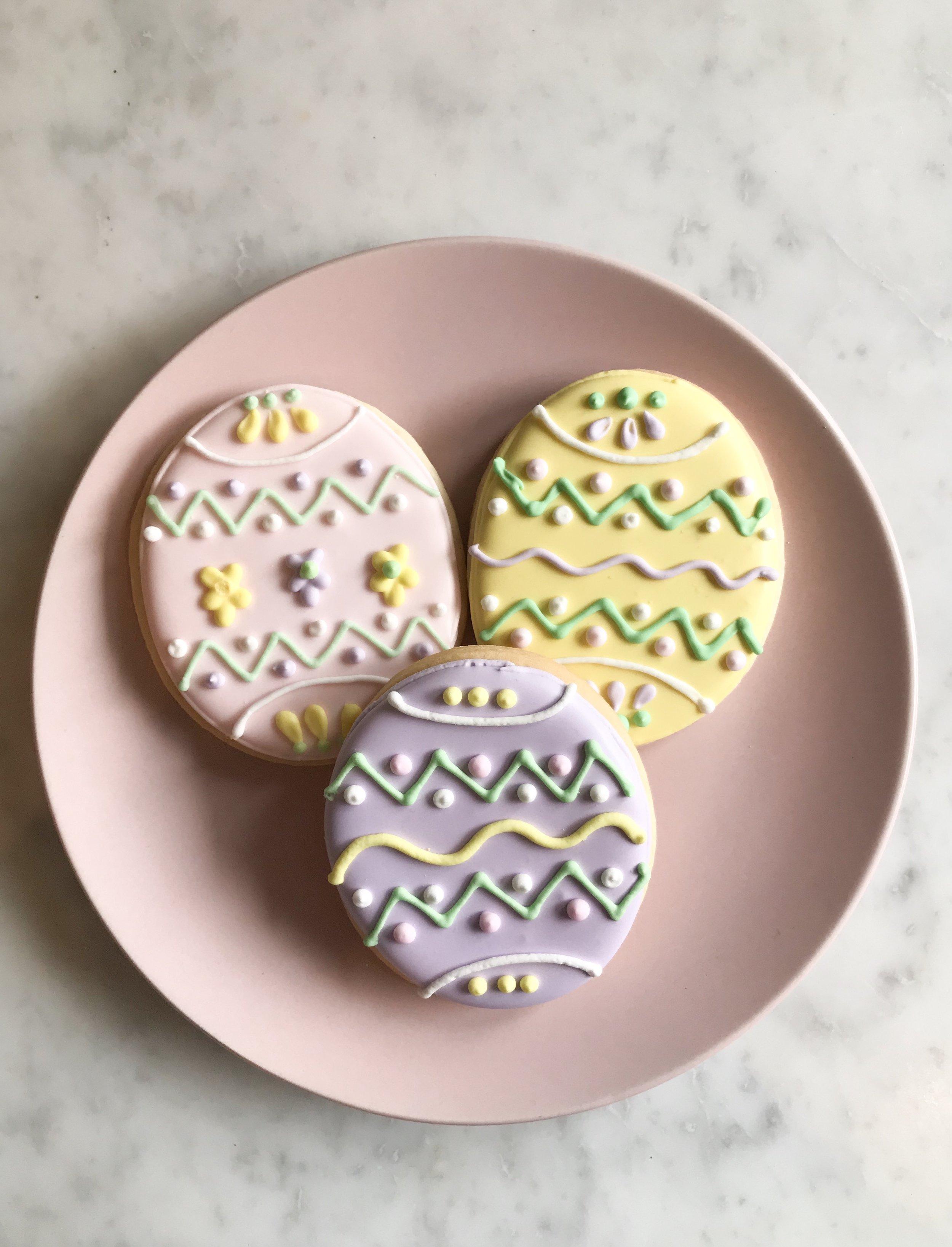 Easter Egg Sugar Cookies:  3 designs- $3.50