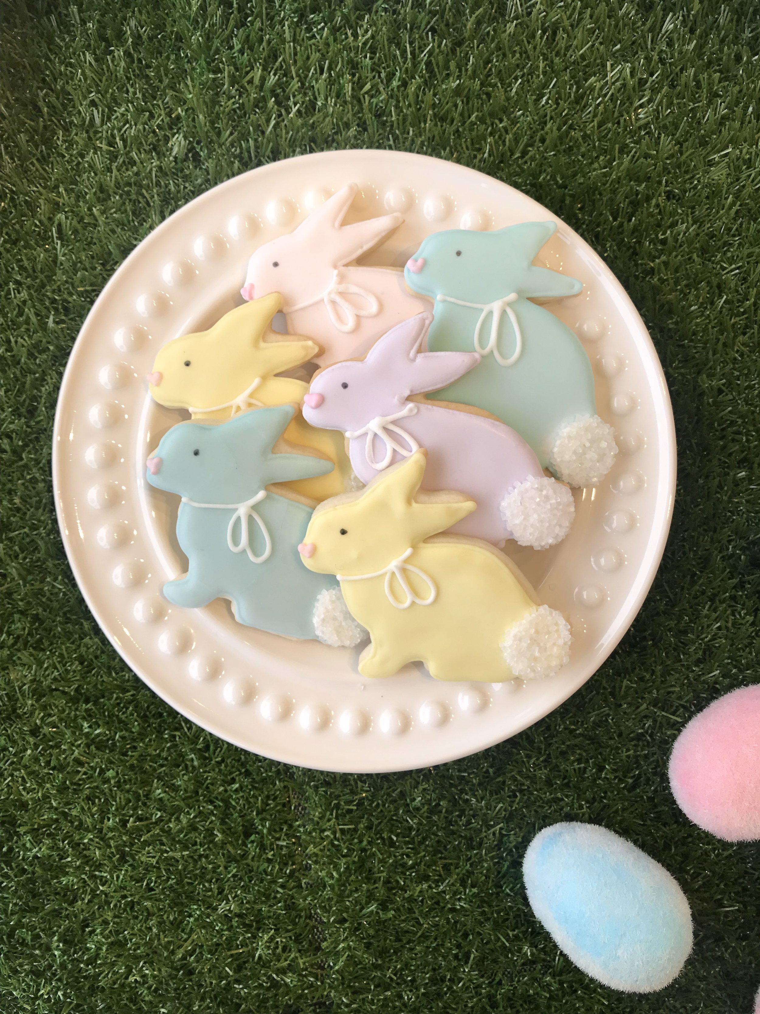 Bunny Sugar Cookies:  4 colours- $3.50