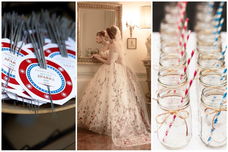 Sparklers:  Favors and Flowers . Dress:  St. Pucchi 9456 . Mason Jars via  Style Me Pretty .