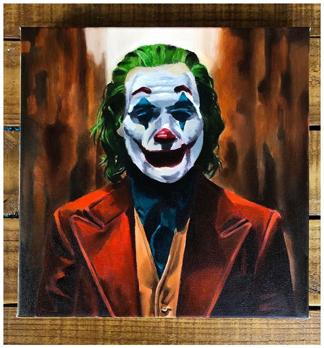 "Down To Clown 🤡 Oil on canvas, 12""x12"". I'm really looking forward to seeing @joaquinphoenix_rocks portrayal of The Joker. DM me for availability on this painting. Swipe 👈🏾 🖼 . . . . . #amarstewart #thejoker #batman #gothamcity #dccomics #fanart #portrait #oilpainting #artcollector"