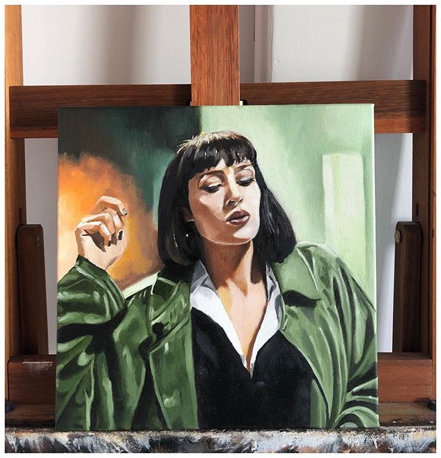 """Mia Wallace"" Oil on Canvas 12""x12"". Part of my on going Tarantino series. Swipe 👈🏾 for detailed pics. 💃🏼🕺🏽 . . . . . #amarstewart #pulpfiction #quentintarantino #umathurman #art #oilpainting #fanart #movieart #posterart"