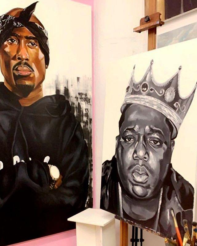 The best of friends 👑 . . . . . #amarstewart #tupac #biggie #big #hiohop #hiphopart #oilpainting #portrait