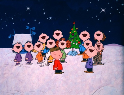 comic characters singing carols