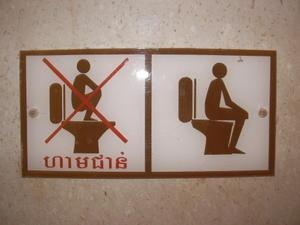 Standing on the toilet seat can lead to injuring yourself while pooping