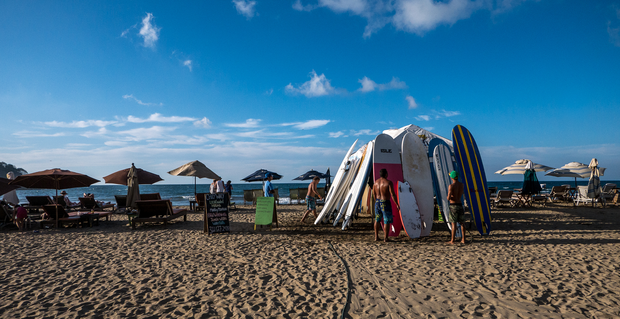 Surfboards for hire on the local beach in Sayulita, Mexico