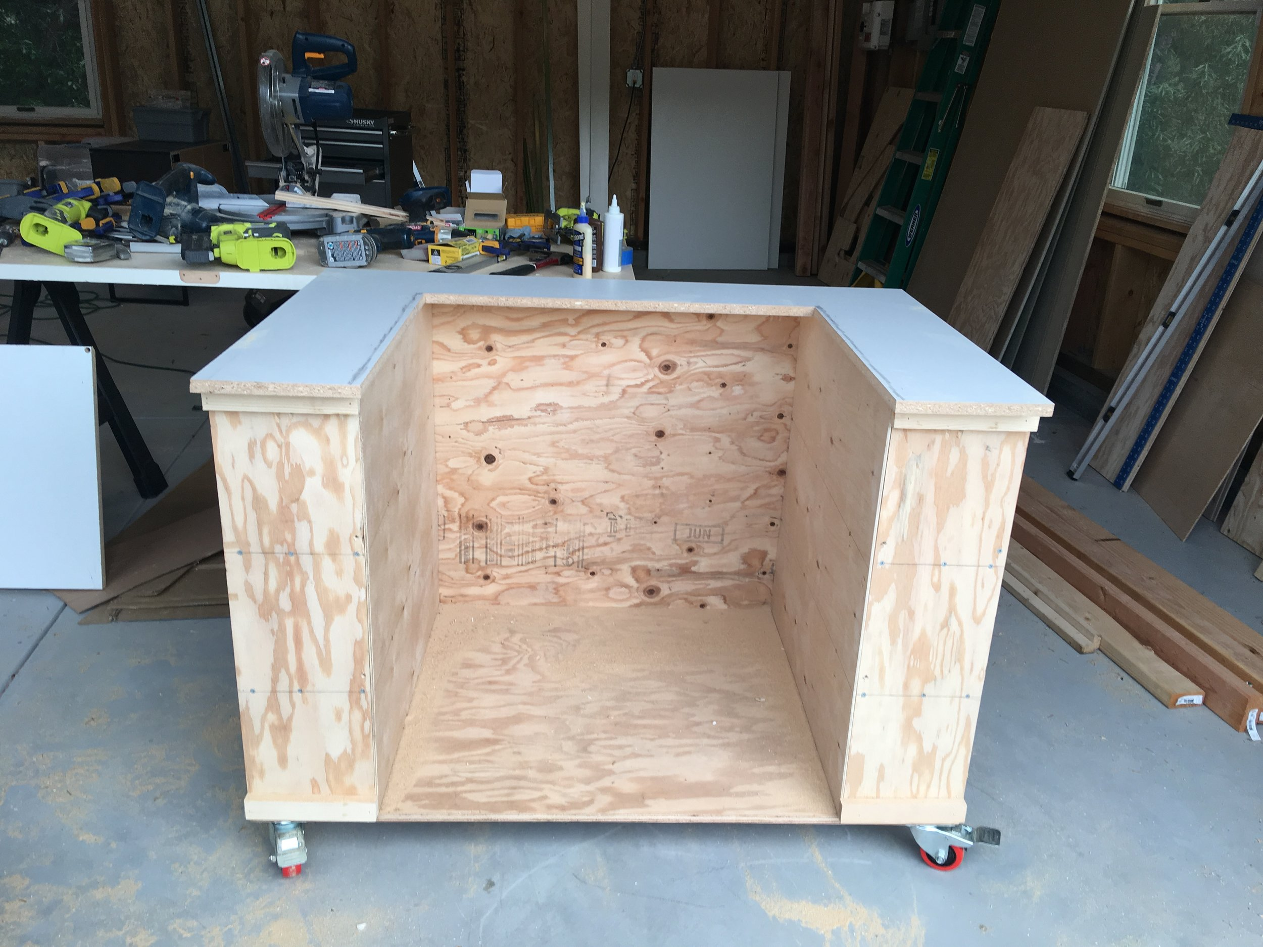 Top cut out for table saw.