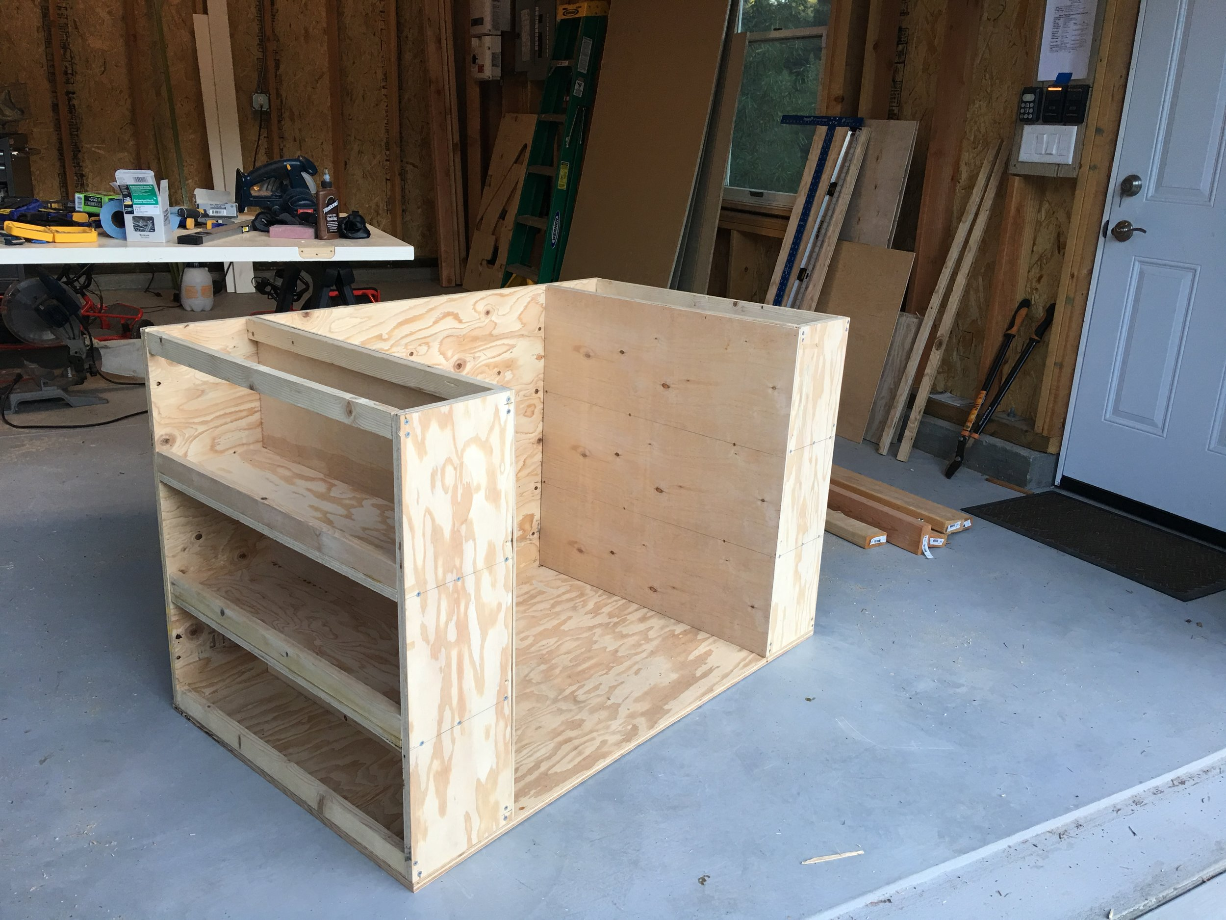 """1/4"""" ply paneling added to backs of shelves."""