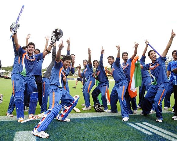 The Indian team celebrate winning the 2012 ICC U19 Cricket World Cup  Credit: 2012 Ian Hitchcock-ICC, Rediff.com