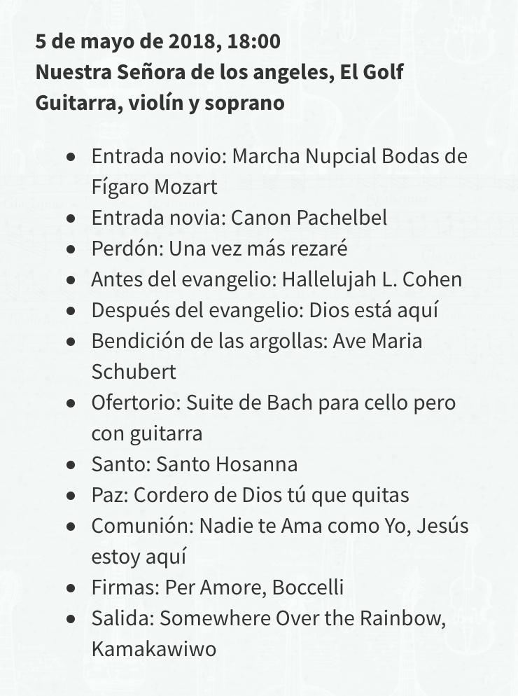 repertorio música para ceremonia de matrimonio boda novios iglesia coro chile