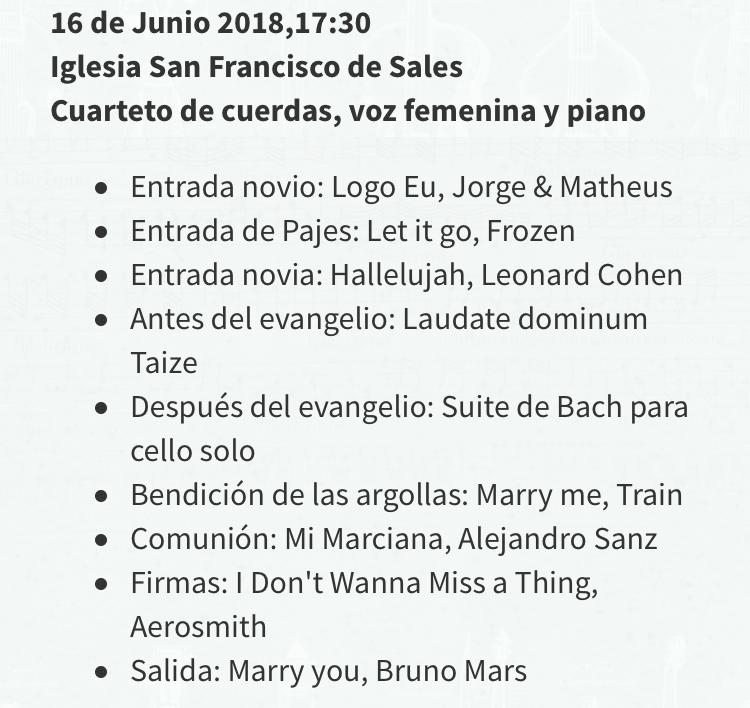 Lista canciones matrimonio iglesia Agez Chile
